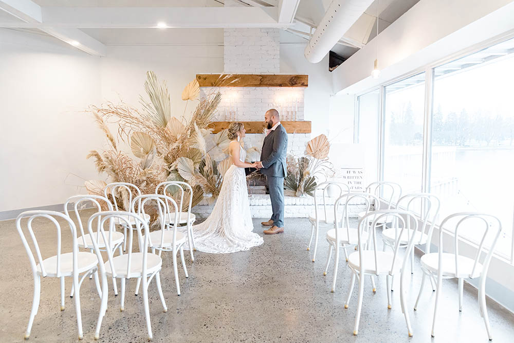 Sea and Silk_Styled Shoot Umbrella Bar Grey Loft Photography Bride and Groom at Alter