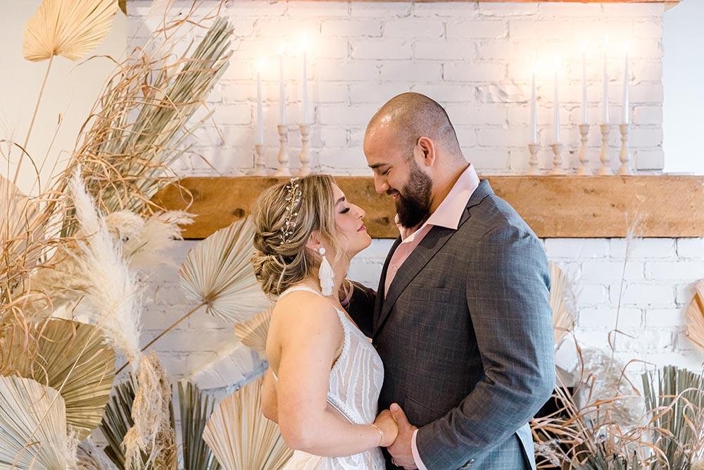 Sea and Silk Umbrella Bar Styled Shoot Grey Loft Studio Bride and Groom